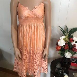 BCBG peach silk dress size XS floral pattern